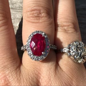 Jewelry - Ruby and white topaz ring